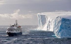 Картинка лёд, айсберг, лайнер, Антарктида, Antarctica, Corinthian, Weddell Sea, Южный океан, Море Уэдделла, Southern Ocean