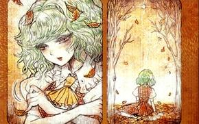 Картинка грусть, лицо, одиночество, бант, листопад, touhou, осенние листья, белая блузка, Touhou Project, Проект Восток, Kazami …