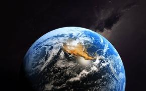 Обои облака, материки, планета, Земля