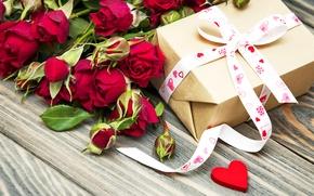 Картинка цветы, подарок, Valentine's Day, романтика, любовь, розы, romantic, бантик