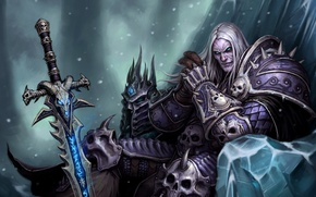 Обои WoW, World of Warcraft, Arthas, Evil, Helmet, Armor, Sword Frostmourne, Powerful, The Lich King, Knight ...