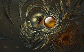 Картинка волны, серый, фон, узор, круг, лепестки