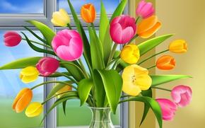 Обои ваза, окно, тюльпаны