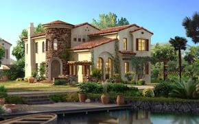 Картинка небо, вода, свет, цветы, дом, камни, пальмы, лодка, окна, горшки, кусты