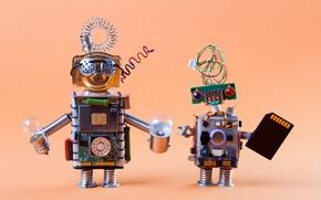 Обои винтаж, роботы, cyberspace, лампочки, фигурки, technology, плата, процессор, транзисторы, боке wallpaper., сим карта micro sd, ...
