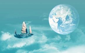 Картинка корабль, планета, воздушный, полёт