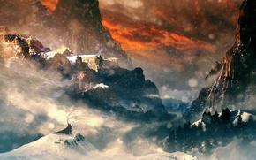 Картинка зима, лес, горы, человек, метель