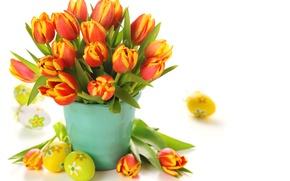 Картинка цветы, яйца, букет, Пасха, тюльпаны, ведерко