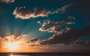 Картинка небо, солнце, облака, закат, океан, Куба