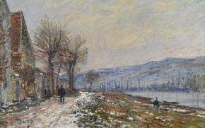 Картинка пейзаж, картина, Клод Моне, Сена в Лавакорте. Снежный Эффект
