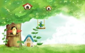 Картинка небо, трава, листья, детство, дерево, птица, рисунок, сказка, картина, домик