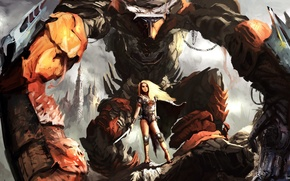 Обои арт, гигант, Fantasy, Warrior, Women