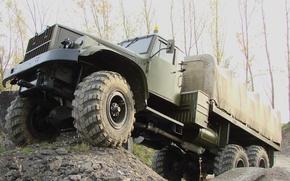 Картинка фон, обои, грузовик, бездорожье, военный, вездеход, Краз 255б, Kraz