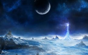 Картинка лед, энергия, поверхность, горы, планета