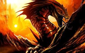 Картинка язык, скалы, дракон, art, by TheRisingSoul, Kaiju Combat, Aluphox