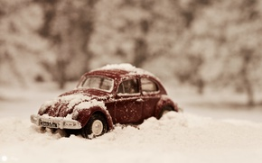 Картинка машина, снег, игрушка