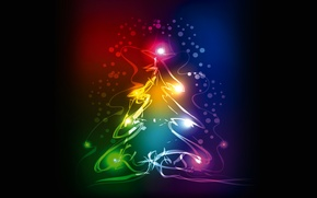 Картинка елка, colors, Новый Год, Рождество, christmas, tree, neon, xmas
