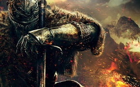 Картинка рука, воин, шлем, мех, броня, рыцарь, Namco Bandai Games, Dark Souls 2, From Software, Dark …