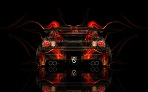 Картинка Черный, Огонь, Стиль, Обои, Фон, Хонда, Orange, Honda, Car, Fire, Photoshop, Фотошоп, Abstract, Black, Style, …