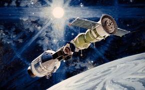 Картинка «рукопожатие в космосе», Экспериментальный полёт, «Союз-19», Союз- Аполлон, Apollo-Soyuz, «Аполлон»