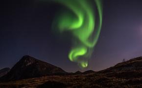 Картинка горы, северное сияние, mountain, aurora borealis, dancing aurora, танцы Аврора