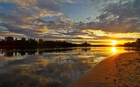 Картинка небо, солнце, облака, закат, природа, река, фото, рассвет, Россия, Ярославль, Которосль
