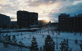 Картинка зима, рассвет, Татарстан, Альметьевск