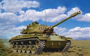 Картинка war, art, painting, tank, M41 Walker Bulldog