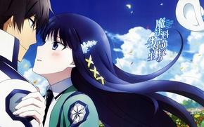 Картинка романтика, аниме, Mahouka Koukou no Rettousei, Тацуя, Миюки, Непутёвый ученик в школе магии
