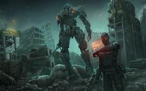 Обои меч, робот, арт, киборг, фантастика, город, руины