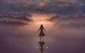 Картинка крылья, арт, магия, дракон, девушка, небо, фантастика, летит, огонь