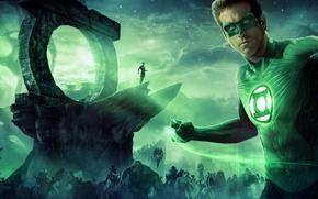Обои космос, звезды, планета, монстры, Ryan Reynolds, супергерой, Зелёный Фонарь, Green Lantern, Раян Рейнолдс