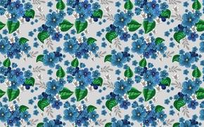 Картинка цветы, синий, узор