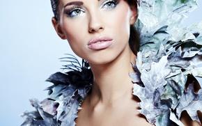 Картинка взгляд, девушка, модель, макияж, воротник, Izabela Magier