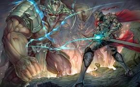 Обои шлем, воин, битва, меч, фантазия, чудовище, монстр, доспех