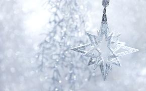 Обои зима, игрушка, звезда, блестки, Новый Год, Рождество, серебристая, мишура, Christmas, снежинка, звёздочка, праздники, New Year, ...
