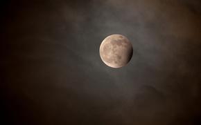 Обои облака, ночь, луна