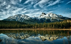 Картинка Небо, Горы, Лес, Горная река