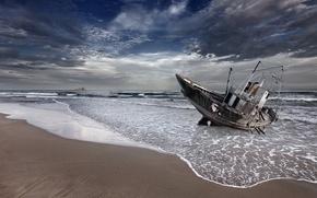 Картинка море, пейзаж, ночь, лодка