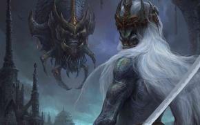 Картинка город, монстр, драконы, меч, корона, арт, лич