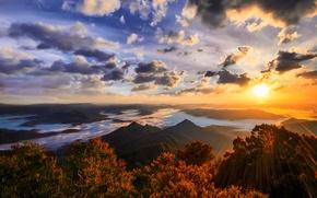 Картинка солнце, пейзаж, горы, природа, Australia, Gold Coast