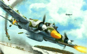 Картинка war, art, painting, ww2, german aircraft, hs 129