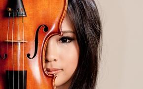 Картинка взгляд, девушка, музыка, скрипка, азиатка