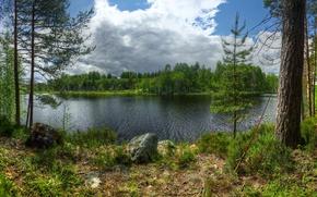 Обои камни, Karelia, остров, Lake Ladoga, Кильпола, island Kilpola, деревья, Карелия, Россия, удочка, лес, Ладожское озеро, ...