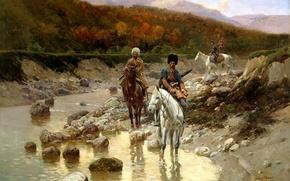 Обои казаки, живопись, картина, РУБО Франц, Казаки у горной речки