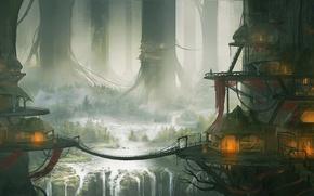 Картинка деревья, пейзаж, мост, город, водопад, дома, арт, хижины, гигантские, kingcloud