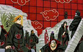 Картинка стена, эмблема, Itachi, ninja, Akatsuki, Deidara, Yahiko, Naruto Shippuden, Tobi, Hidan, Kisame, Zetsu, Наруто Ураганные …