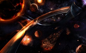 Обои планеты, звезды, метеорит