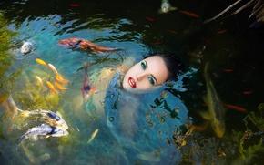 Картинка девушка, рыбы, в воде, Fish girl in a pond