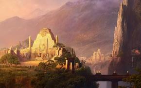 Картинка горы, мост, скалы, здания, храм, водопады, ацтеки
